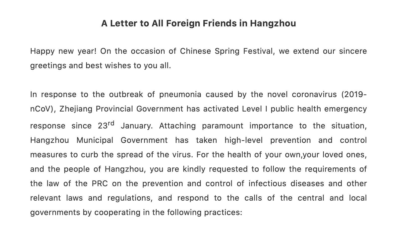 A Letter to All Foreign Friends in Hangzhou