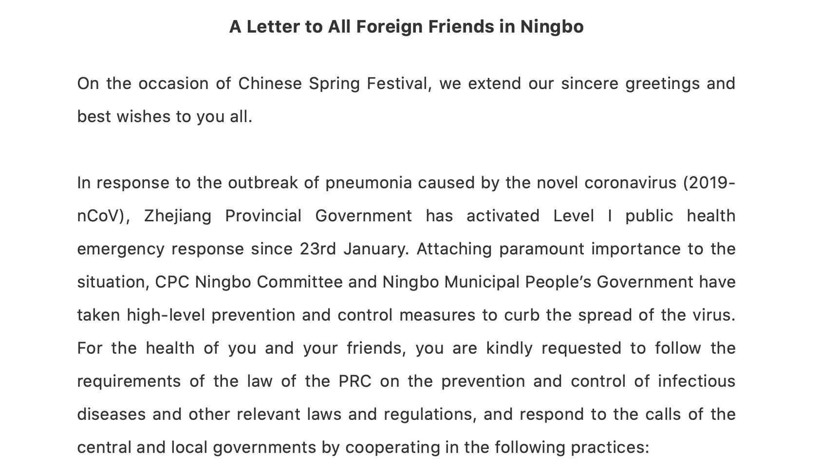 A Letter to All Foreign Friends in Ningbo