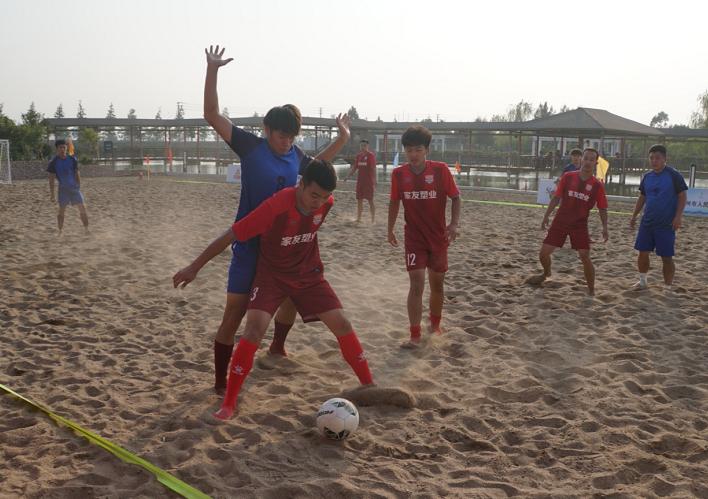 不用草皮一样享受踢球的快乐 海运会沙滩足球在台州三门开赛