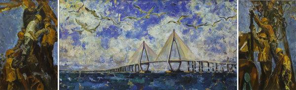 《杭州湾跨海大桥》 井士剑 油画 170cm×110cm×2 170cm×330cm.jpg