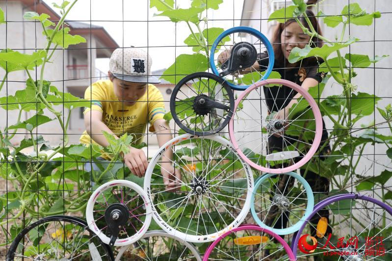 5月31日,在浙江省湖州市德清县舞阳街道长春村,由废弃自行车、酒缸和轮胎组合成各种艺术造型,富有创意。.jpg