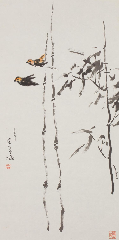 疏竹双鸟  138cm×69cm 2002年.jpg