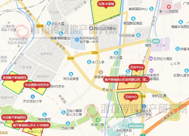 余政儲出[2019]21號地塊(即圖中所示臨平新城核心區迎賓路以西地塊)位圖片