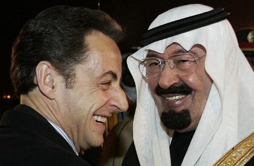 阿卜杜拉/1月13日,沙特阿拉伯国王阿卜杜拉(右)在利雅得会见到访的法国...