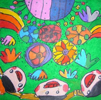 大游轮儿童画_喜迎十九大手儿童画分享展示