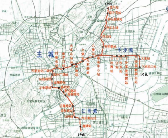杭州地铁1号线走向示意图(从上图可以看出,示意图中有下沙沿江图片