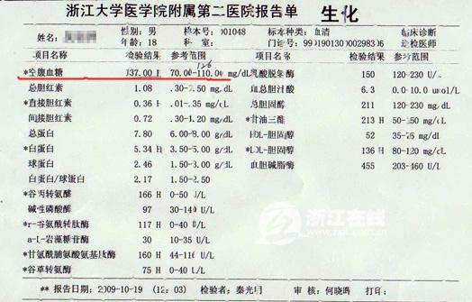 小吴开始诺特营养干预减肥之前的体检报告:血糖指数明显超标