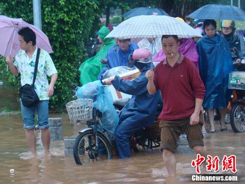 海口大雨致全城多条道路交通中断(组图)