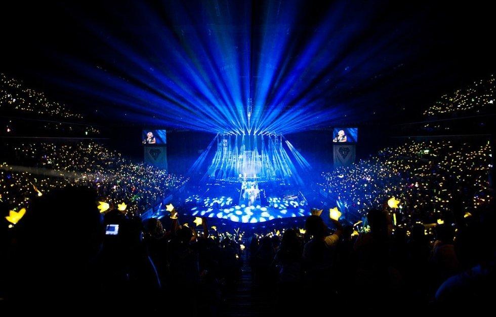 在万事达中心(原五棵松体育馆)举办他们在中国的第三场演唱会.图片
