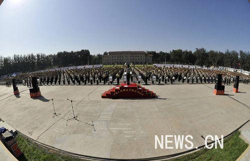 国庆阅兵首次由陆海空三军官兵组成联合军乐团