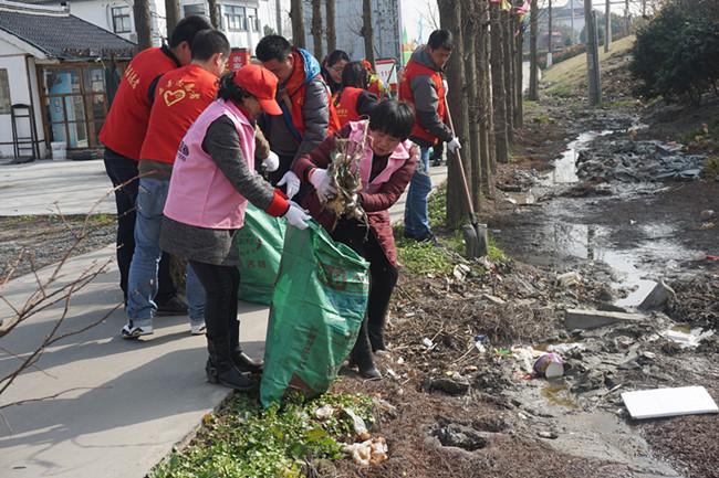 西塘志愿者助力环境整治。