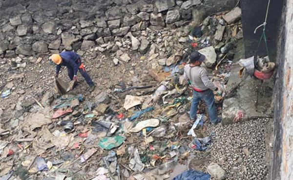 清理滩涂垃圾。