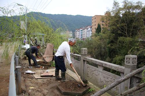 乐清市岭底乡夏林头村民在道路两旁种植绿化带。